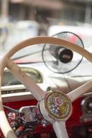 Steering wheel of American vintage car photo