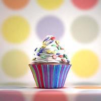 delicioso cupcake con sabelotodos sobre una crema batida. foto