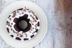 chocolate cake with vanilla sauce