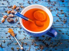 Blue cup with tea photo