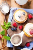 Cup of coffee and delicious homemade tartlets photo