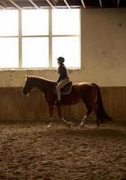 Mujer a caballo en interior manege con ventana grande foto