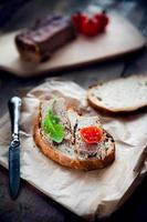 Pork pate with bread and vegetables