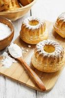 Homemade muffins powdered sugar photo