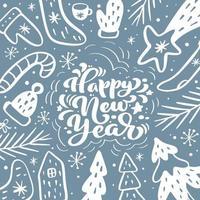 feliz año nuevo letras caligráficas texto escrito a mano vector