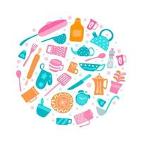 Set of kitchen utensils and collection of cookware icons