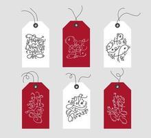 conjunto de etiquetas navideñas escandinavas dibujadas a mano