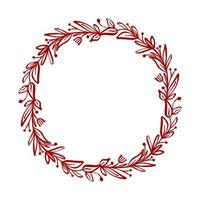 Red Christmas flower wreath and berries on branches