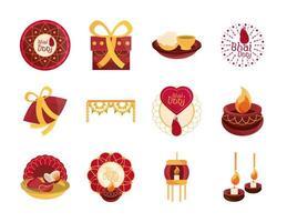 conjunto de iconos de celebración de bhai dooj vector