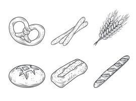 conjunto de iconos de productos horneados