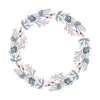 Christmas flower wreath and red berries