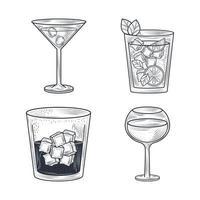 Cóctel de bebidas de composición de arte lineal. vector