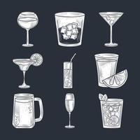 Cocktail drinks line-art composition vector