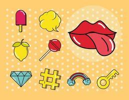 varios arte pop, conjunto de iconos de colores