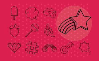 Various pop art icon set