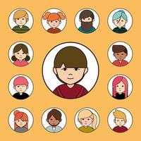 Diverse people, round avatar icon set