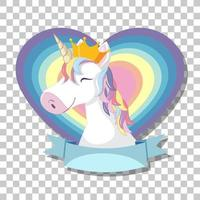 Unicorn head with rainbow mane on rainbow heart