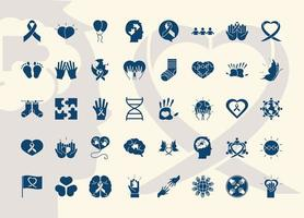 World Down Syndrome Day pictogram icon set