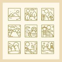Square landscape outline icon collection