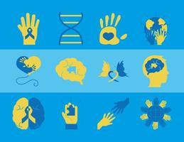 día mundial del síndrome de down pictograma conjunto de iconos