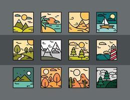 colección de iconos de paisaje cuadrado vector