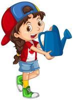 niña canadiense sosteniendo una regadera azul