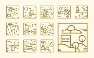 Square landscape outline icon collection
