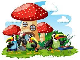 Mushroom house with three bird cartoon style