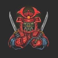 samurai con gráfico katana vector