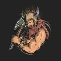 Viking with axe graphic vector