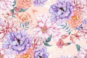 Seamless Pattern of Blooming Flowers Painted with Watercolor