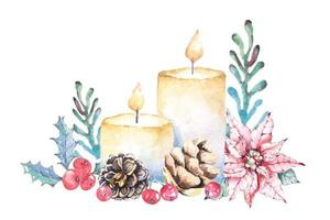 Watercolor Christmas Candles Composition