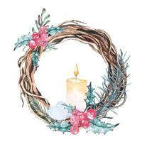 Watercolor Christmas Wreath Composition