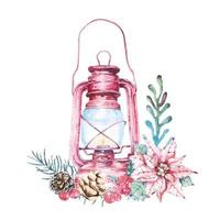 Watercolor Lantern and Foliage Christmas Composition