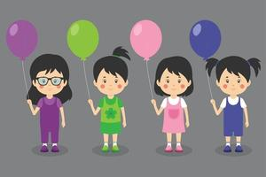 Happy Girl Kid Characters Holding Balloons
