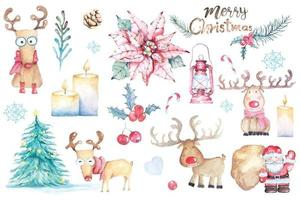 Christmas decorations painted with watercolor