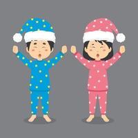 Cute Couple Character Wearing Pajamas