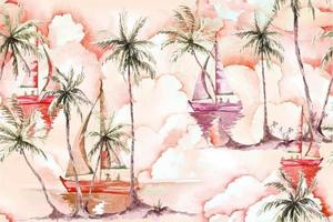 Seamless watercolor coconut tree and sailboat pattern vector