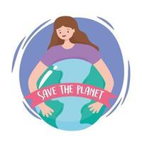 mujer joven abraza la tierra con la bandera de salvar el planeta