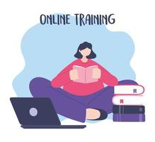 Online training, woman reading book with laptop