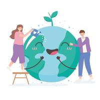 Man and woman with happy Earth cartoon