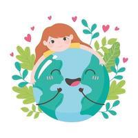 niña abrazando la tierra con hojas y corazones