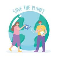 Woman and man caring for Earth cartoon
