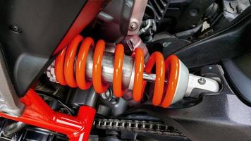 Close-up of motorcycle shock absorbers