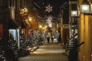 Quebec, Canada, 2019 - Christmas decor in alleyway