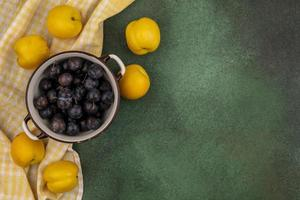 Food photography flat lay of fresh fruit with copy space