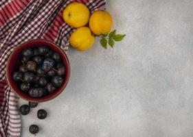 Food photography flat lay of fruit with copy space