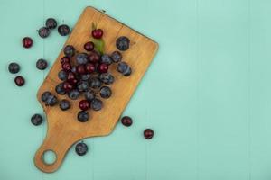 Fotografía de alimentos laicos plana de frutas con espacio de copia