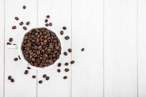 Food photography flat lay of coffee beans with copy space