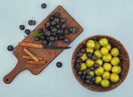 Fotografía de alimentos laicos plana de frutas con espacio de copia foto